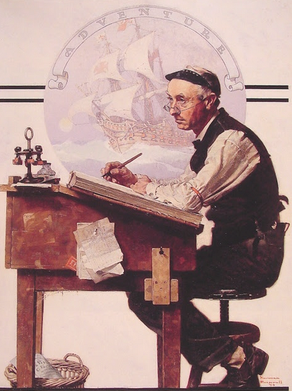 "Norman Rockwell's ""Daydreaming bookkeeper"""